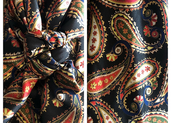 BLACK WITH RED AND TAN PAISLEYS