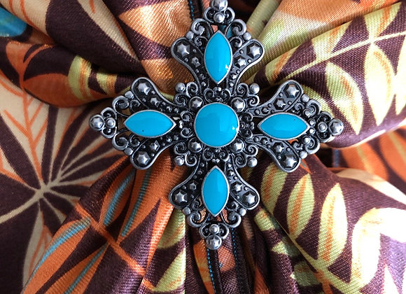 Large Turquoise Cross Slide
