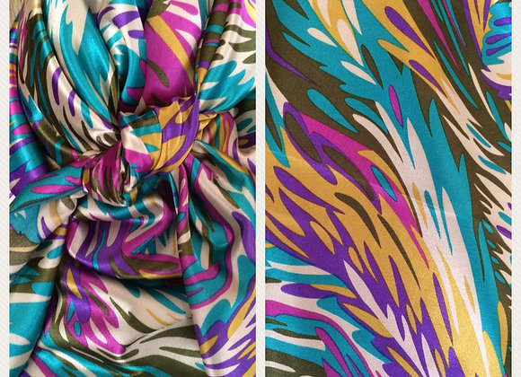 TEAL. PURPLE AND PINK FEATHERS ABSTRACT