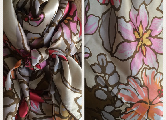 100% SILK CREAM WITH PINK AND BROWN FLORAL