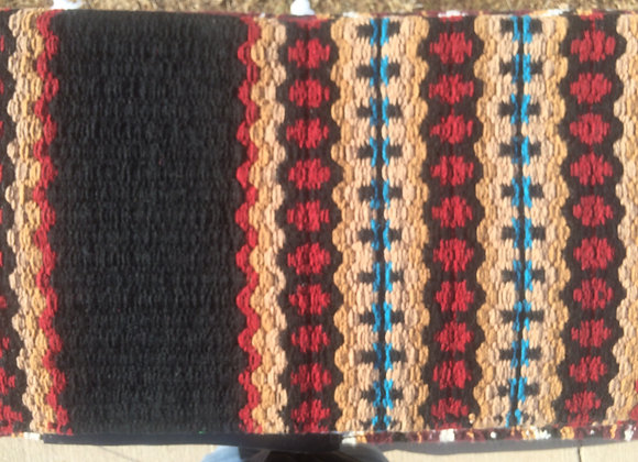 Mayatex Brand Saddle Pad -Black with Red, Tan and Turquoise