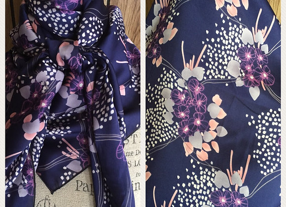 NAVY WITH SOFT PINK AND PURPLE FLORAL