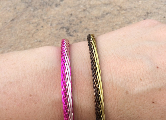 HAND BRAIDED WIRE BRACELET (2-Color Side by Side)