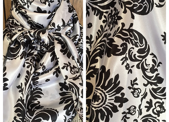 WHITE WITH BLACK DAMASK PRINT