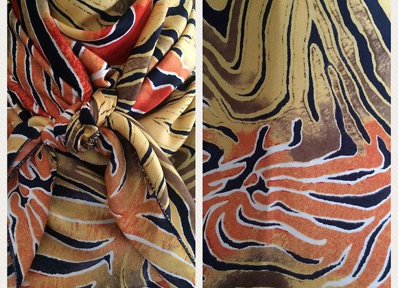 ORANGE YELLOW AND NAVY TIGER PRINT