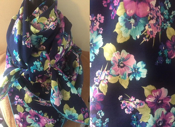 NAVY, TURQUOISE AND PURPLE FLORAL PRINT