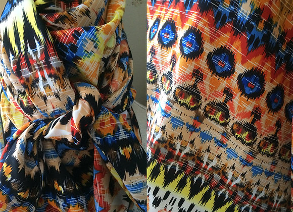 BLUE, ORANGE, RED AND YELLOW SOUTHWEST PRINT