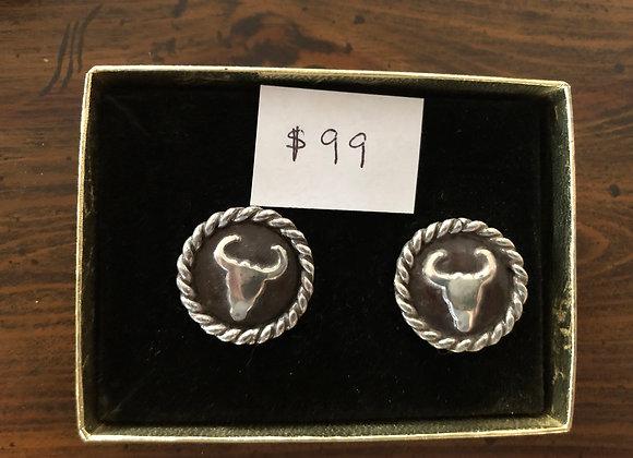Sterling Silver Steer Head Earrings