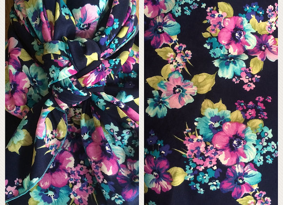 NAVY WITH TURQUOISE AND PURPLE FLORAL