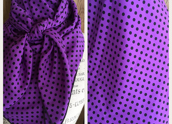 PURPLE WITH SMALL BLACK POLKA DOTS