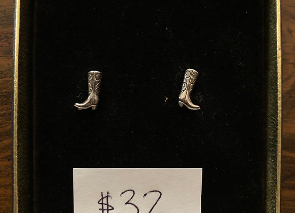 Mini Boot Sterling Silver Earrings