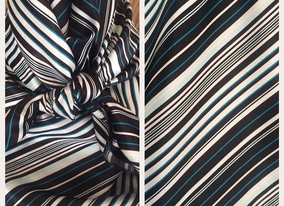BLACK AND WHITE WITH TEAL PINSTRIPE PRINT
