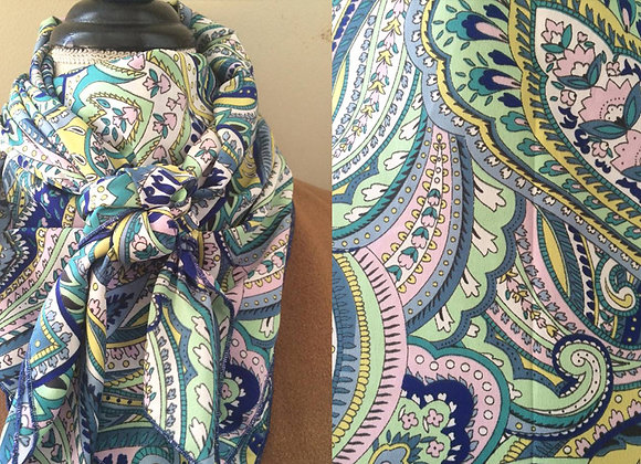 GREEN, BLUE AND PINK PAISLEY PRINT