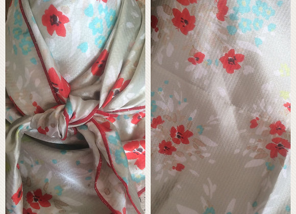 TAN WITH RED AND AQUA FLORAL