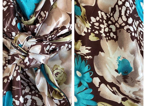 BROWN WITH WHITE AND TRUQUOISE FLORAL ANIMAL PRINT
