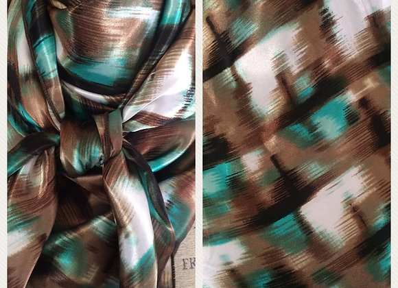 TEAL AND BROWN ABSTRACT PRINT