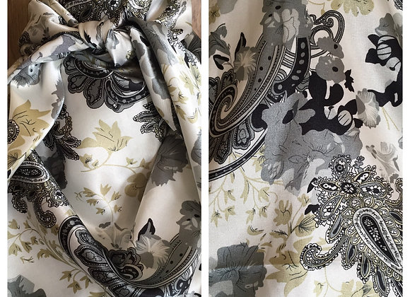 WHITE WITH GREY AND BLACK PAISLEY FLORAL PRINT