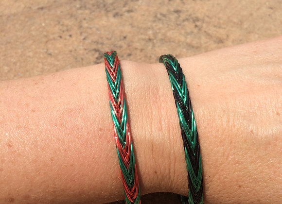 HAND BRAIDED WIRE BRACELET (2-Color Alternating)