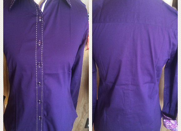 DEEP PURPLE SOLID BUTTON UP WITH BUCKSTITCH DETAIL