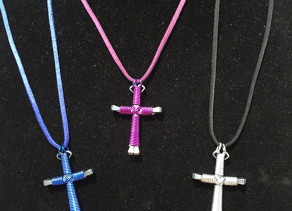 MINI HORSESHOE NAIL CROSS NECKLACES - SINGLE COLOR