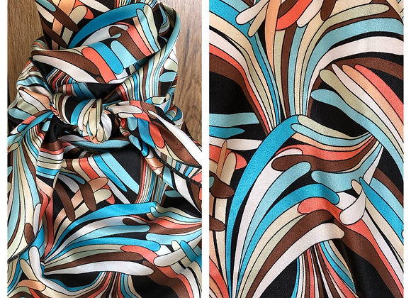 AQUA CORAL AND BLACK ABSTRACT PRINT