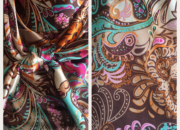 BROWN WITH TURQUOISE AND PINK PAISLEY