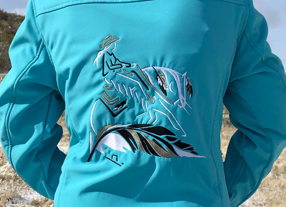 LADIES TEAL SOFTSHELL JACKET WITH FEATHER REINER ON BACK