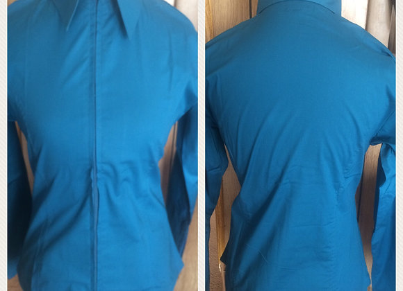 XS LAGOON BLUE SOLID ZIP UP SHIRT