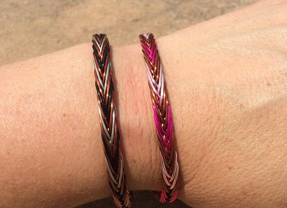 HAND BRAIDED WIRE BRACELET (3-Color Alternating)