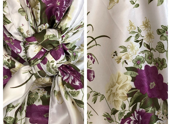 WHITE WITH PLUM FLOWERS PRINT