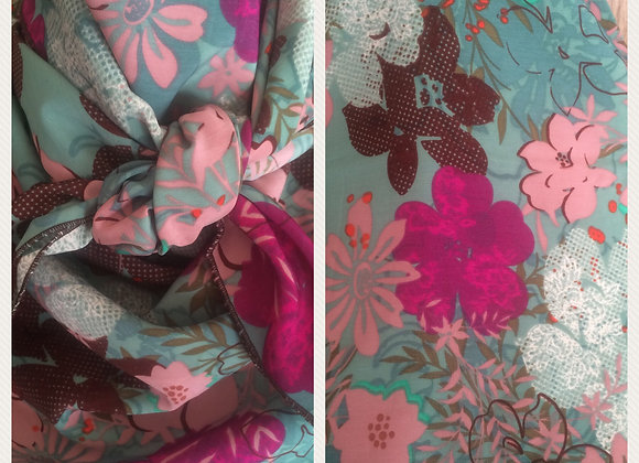 SEAFOAM GREEN WITH MAGENTA, PINK AND BROWN FLORAL PRINT