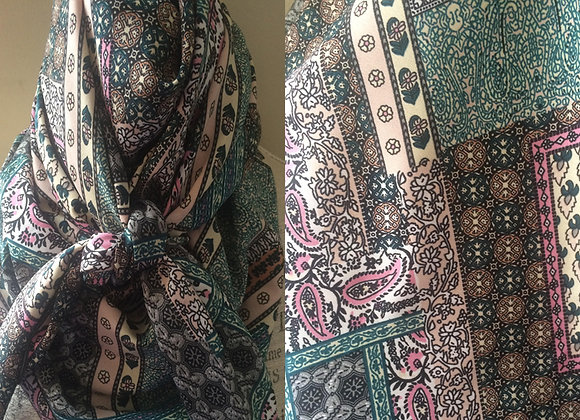 GREEN WITH PINK AND CREAM PATCHWORK
