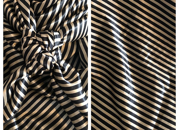 BLACK WITH CREAM PINSTRIPE ABSTRACT PRINT