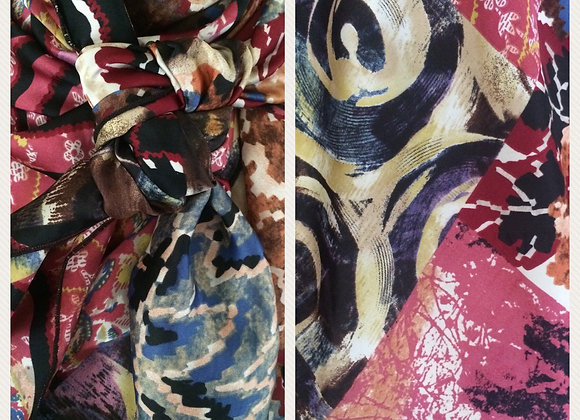 MAROON, ROSE, BLUE AND BLACK ABSTRACT PRINT