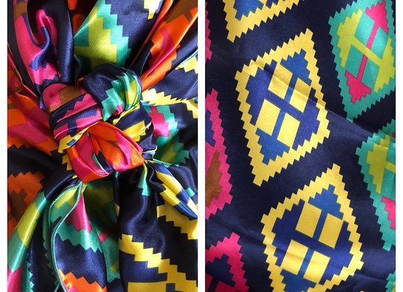 NAVY WITH BRIGHT COLORS GEOMETRIC SOUTHWEST PRINT