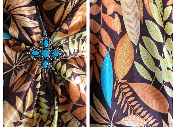 BROWN WITH ORANGE AND BITS OF TURQUOISE FLORAL LEAVES PRINT