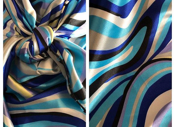 AQUA, ROYAL BLUE, BLACK AND WHITE ABSTRACT SWIRLS PRINT
