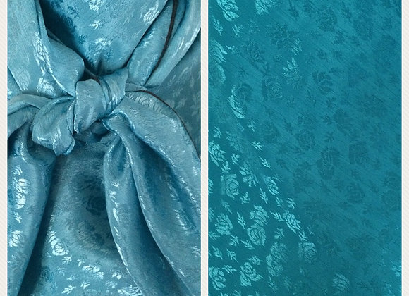 TURQUOISE WITH ROSE JACQUARD PRINT