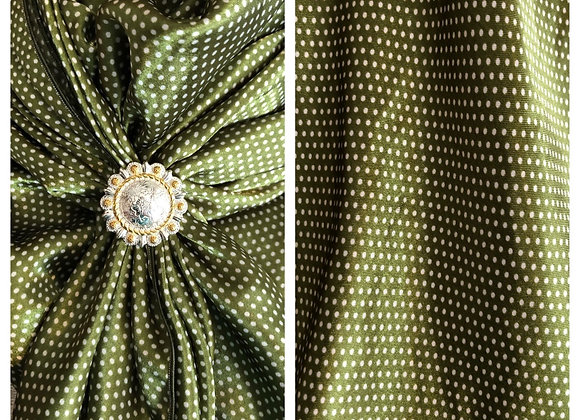 OLIVE GREEN WITH TINY WHITE POLKA DOTS PRINT