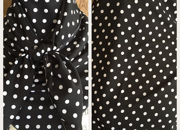 BLACK WITH WHITE SMALL POLKA DOTS