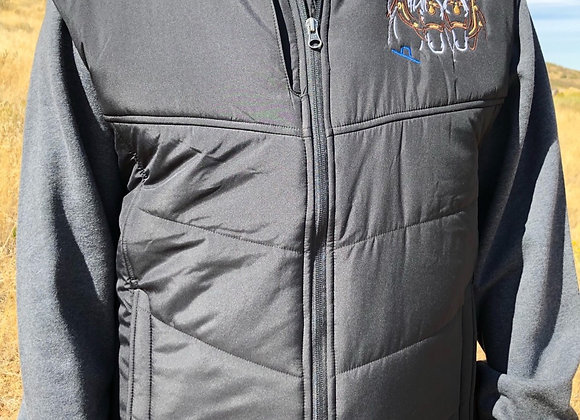 MEN'S PUFFY VEST WITH FRONT AND BACK DRAFT HORSE DESIGN