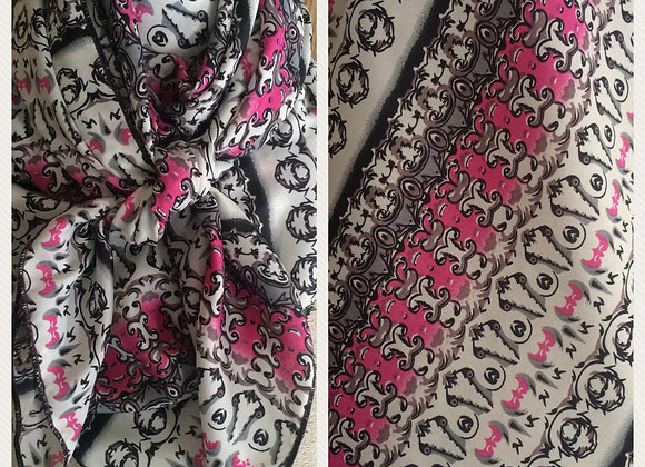 PINK, GREY, BLACK AND WHITE SMALL DAMASK