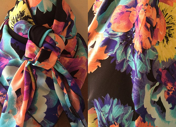 TURQUOISE, PURPLE AND LIME FLORAL PRINT