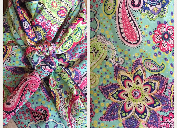 AQUA WITH LIME, PINK, AND BLUE PAISLEY