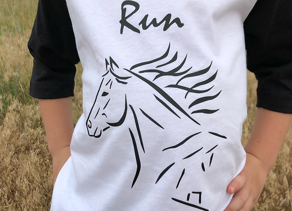 TODDLER BASEBALL TEE WITH BORN TO RUN IMAGE
