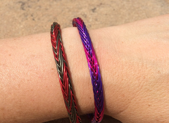 HAND BRAIDED WIRE BRACELET (2-Color Alternating Wider Colors)