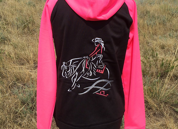 IN-STOCK CLEARANCE SIZES WOMEN'S REINING HORSE ZIP UP HOODY