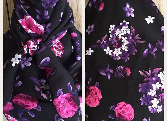 BLACK WITH MAGENTA, PURPLE AND WHTE FLORAL