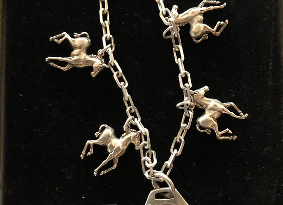 Horse charm Sterling Silver bracelet with Stirrup clasp