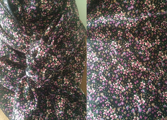 BLACK WITH TINY PINK FLORAL PRINT